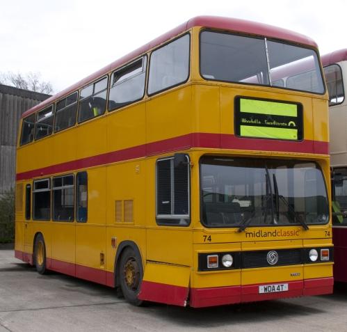 Preserved Midland Classic bus 74 (WDA_4T) 1979 Leyland Titan B15, Wythall Transport Museum
