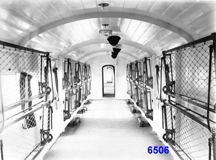 Great Eastern Railway Ambulance Train - Invalid Ward - Cots out of use, Aug 1914