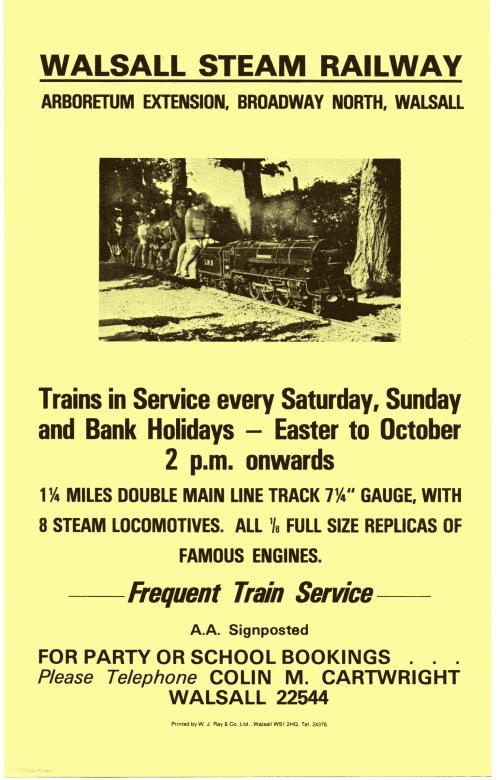 Walsall Steam Railway Flyer