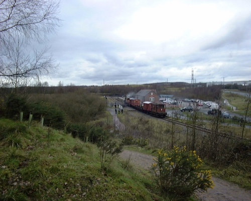 813 Taking a freight train through Chasewater Heaths