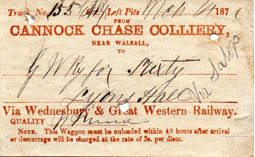 Wagon Label Cannock Chase Coll to Lyons Hall 1876