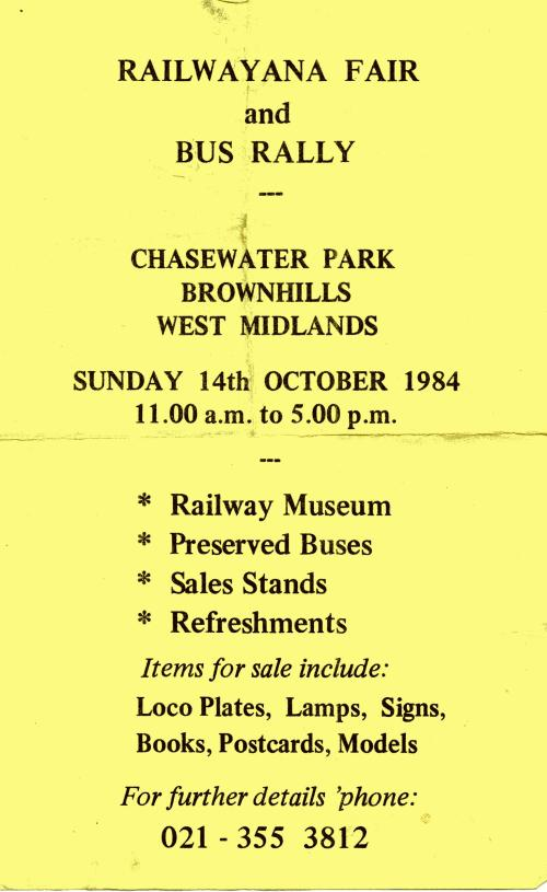 Flier Railwayana 1984