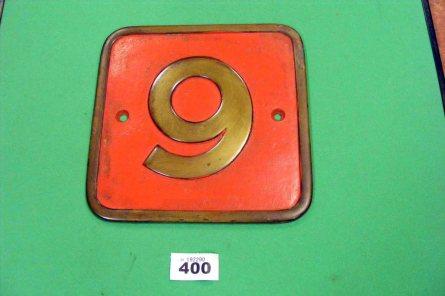 400 Locomotive Numberplate No.9 Ex 'Cannock Wood' CRC C1