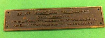 "10709 Manufacturer's plate 10.4""x 2.3"" 50hp Mines Type Diesel Loco HE2019 C16"
