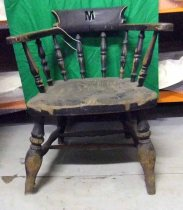 128 Chair MR Wooden chair with cut-out letter 'M' R2a.S5