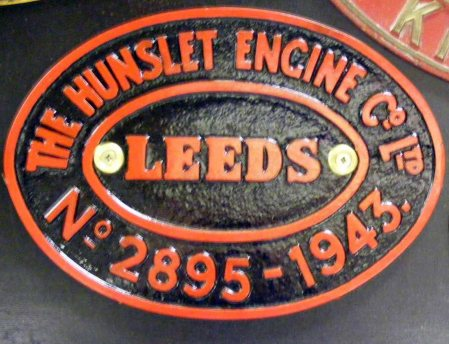 309 Works plate Hunslet 2895/1943 Ex NCB Granville Colliery C16